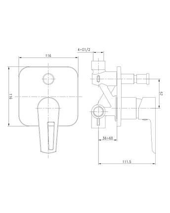 Змішувач для ванни Imprese Breclav VR-10245WZ білий, фото 2