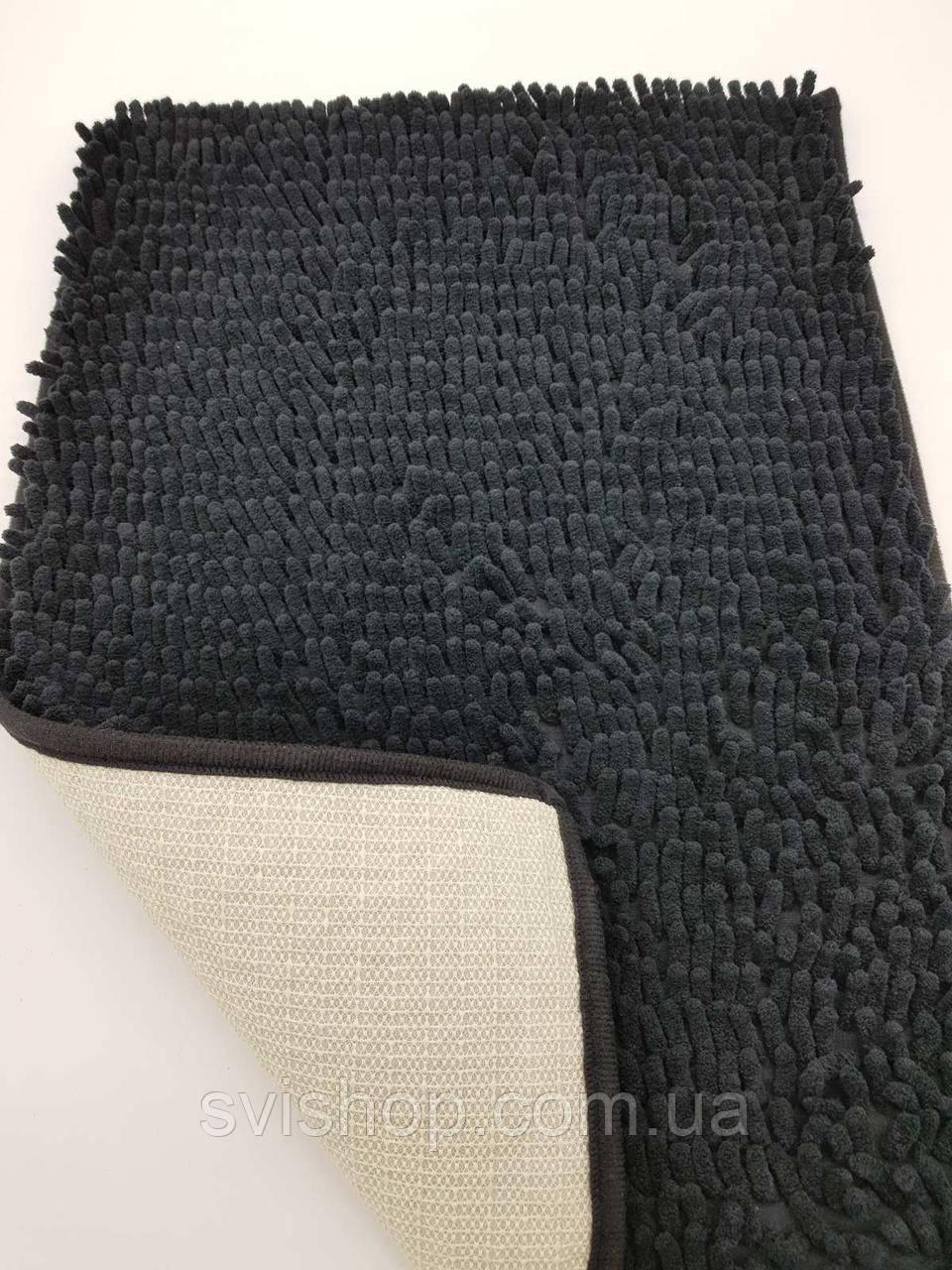 Коврик для ванной из микрофибры лапша 40х60см.Чёрный цвет.