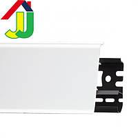 Плинтус Идеал Система 001 G Белый глянцевый 80мм пластиковый для пола, IDEAL 01 белый высокий с мягкими краями