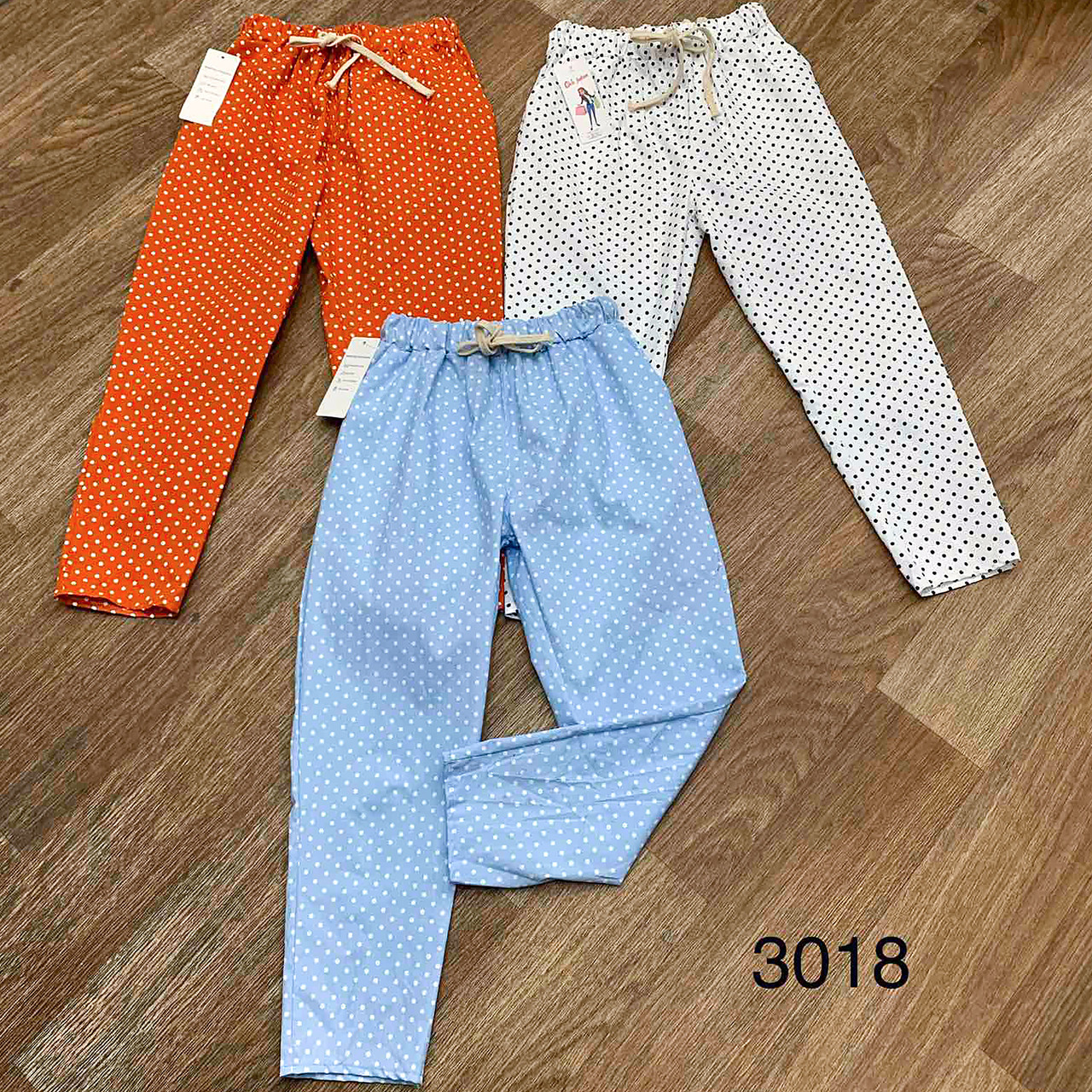 Женские брюки в мелкий горошек 42-44 (голубые)