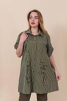 Летняя легкая женская удлиненная рубашка большого размера оливка. Размеры 54, 56, 58, 60. Хмельницкий, фото 1