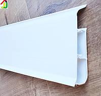 Плинтус Идеал Система 001 Белый Матовый 80мм пластиковый для пола, IDEAL 01 белый высокий с мягкими краями