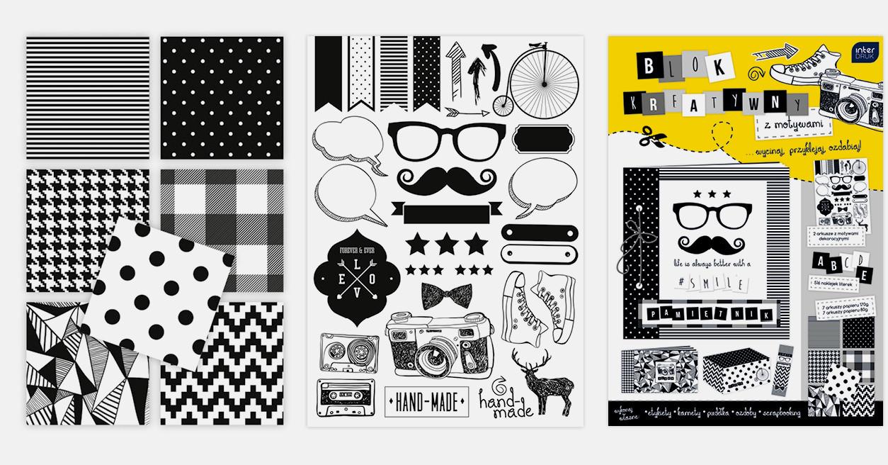 "Блок бумаг для творчества и скрапбукинга ""Black&White"", Interdruk"
