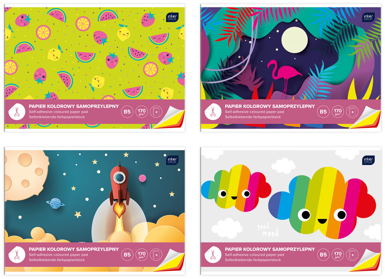 Набор самоклеющейся цветной бумаги, 8 цветов, Interdruk