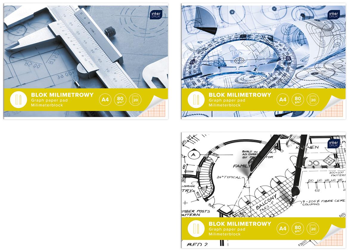 Блок бумаги миллиметровой А3, Interdruk