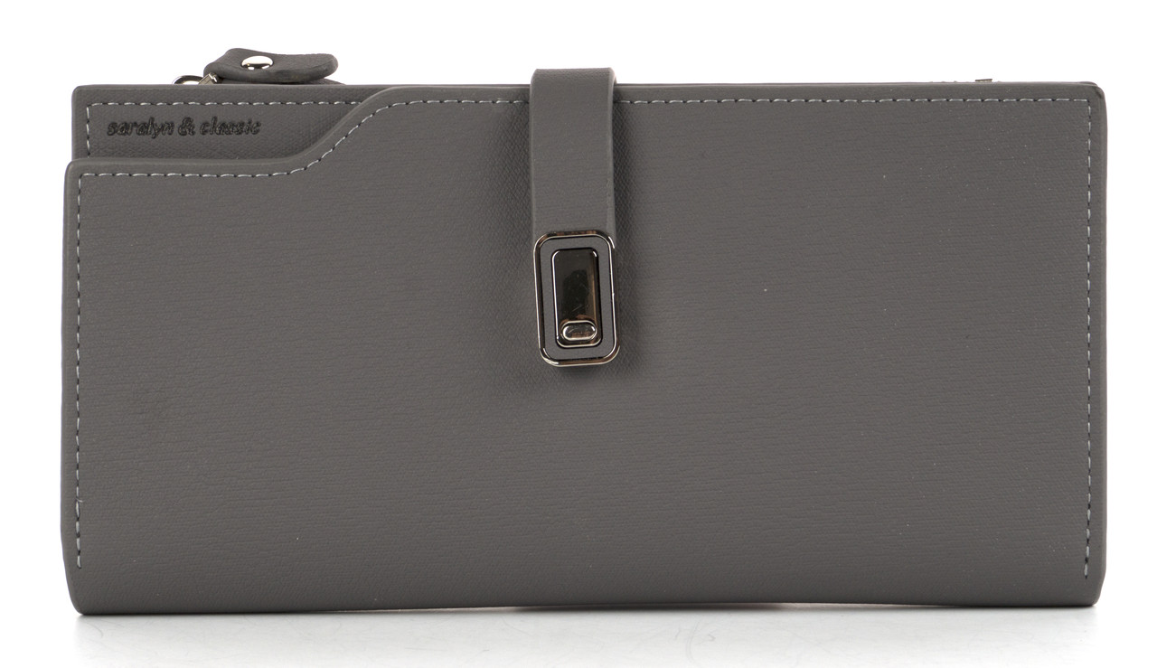 Тонкий стильний жіночий шкіряний гаманець високої якості SaralynL art. 5839 сірий
