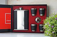 Подарочный набор Фляга 4 рюмки можно выбить гравировку, фото 1