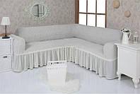 Натяжной чехол-накидка на угловой диван с рюшами Venera 02-213 с оборкой Белый