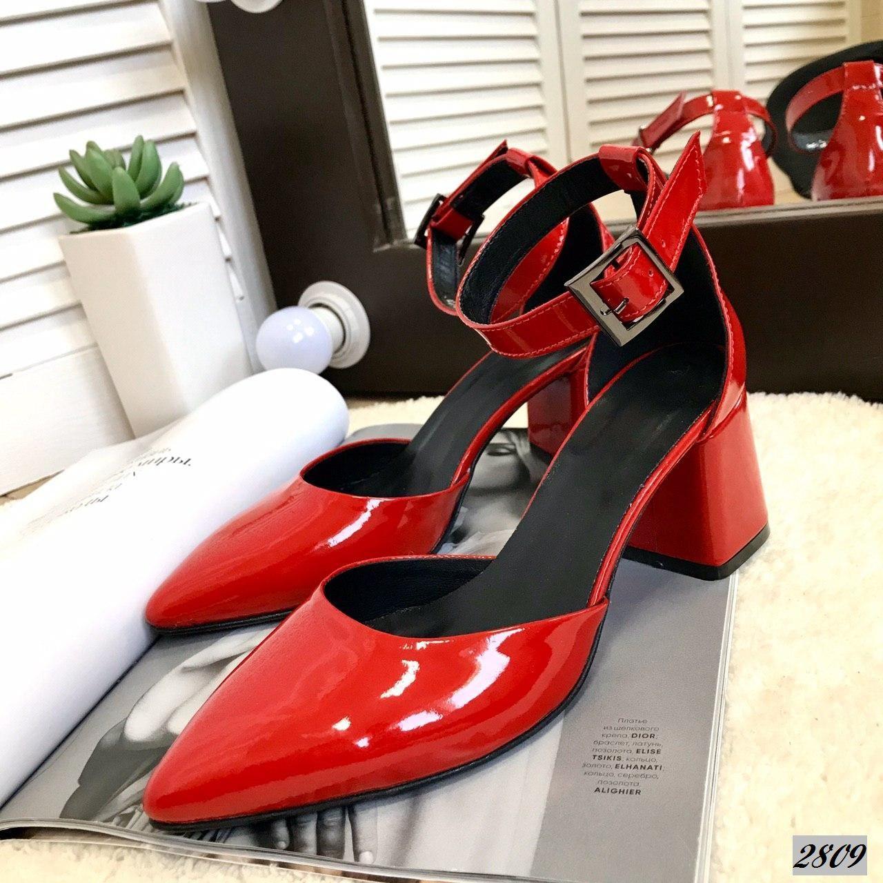 Шикарные кожаные лаковые туфли на каблучке 36-40 р красный