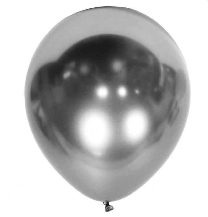 Шарик воздушный 5 дюймов ( 13 см ) ХРОМ СЕРЕБРО