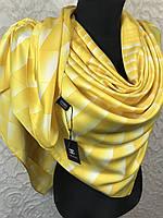 Желтый брендовый платок шелковый №326-457 (цв.3)