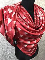 Красный брендовый платок шелковый №326-457 (цв.4)