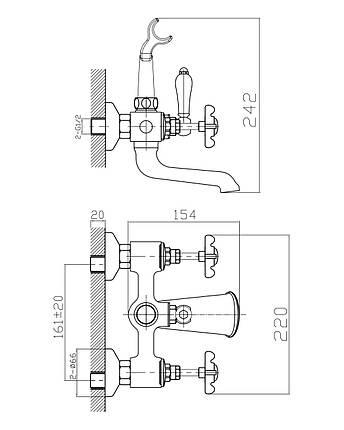 Змішувач для ванни Imprese Cuthna 10280 бронза, фото 2