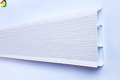 Плінтус Ідеал Система 255 Ясен Б'янко 80мм пластиковий для підлоги, IDEAL високий з м'якими краями