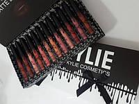 Набор жидких матовых помад Kylie Black в коробке с бантом 12 штук