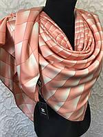 Персиковый брендовый платок шелковый №326-457 (цв.5)