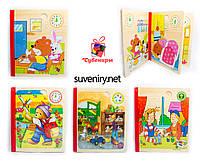 Детская деревянная книга с пазлами разные виды