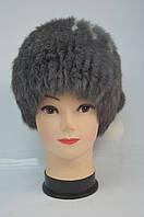 Женская шапка-кубанка из меха кролика серая с помпонами
