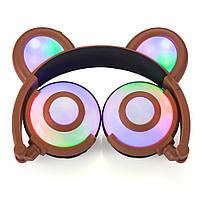 Наушники LINX Bear Ear Headphone Наушники с медвежьими ушками LED подсветка 350 mAh Коричневый