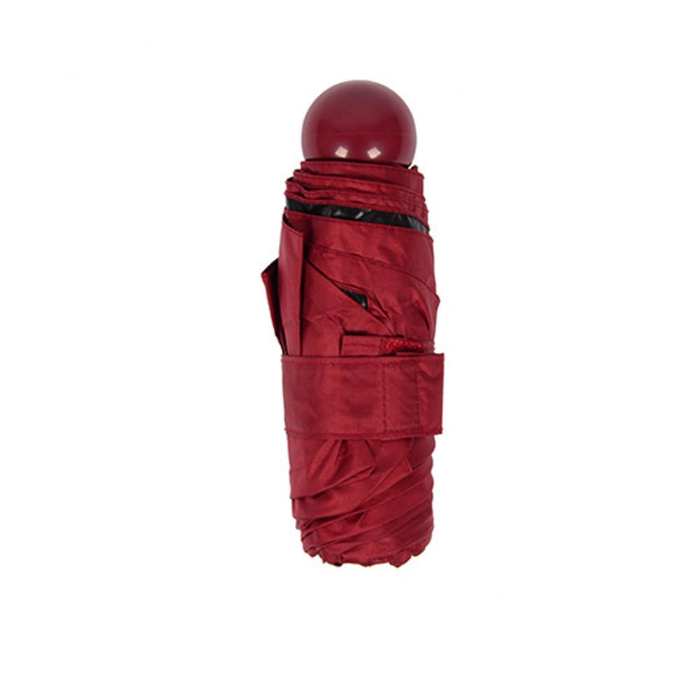 Зонт складной SUNROZ Pill Box Umbrella универсальный карманный мини зонтик в футляре капсула Красный