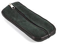 Зручна шкіряна зелена ключниця на блискавці ключниця шкіра кільце замш (102993), фото 1