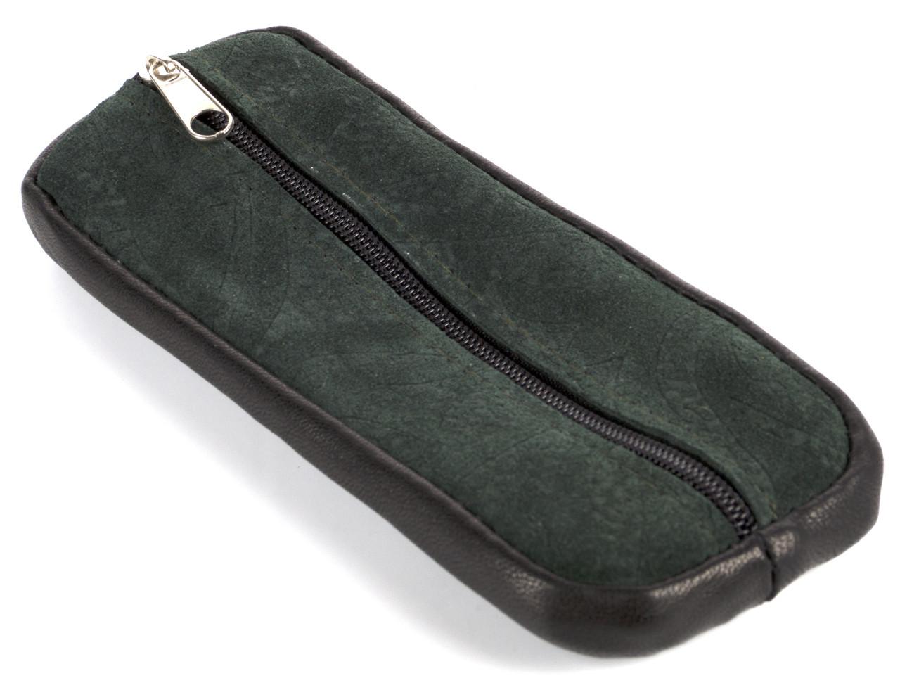 Зручна шкіряна зелена ключниця на блискавці ключниця шкіра кільце замш (102993)