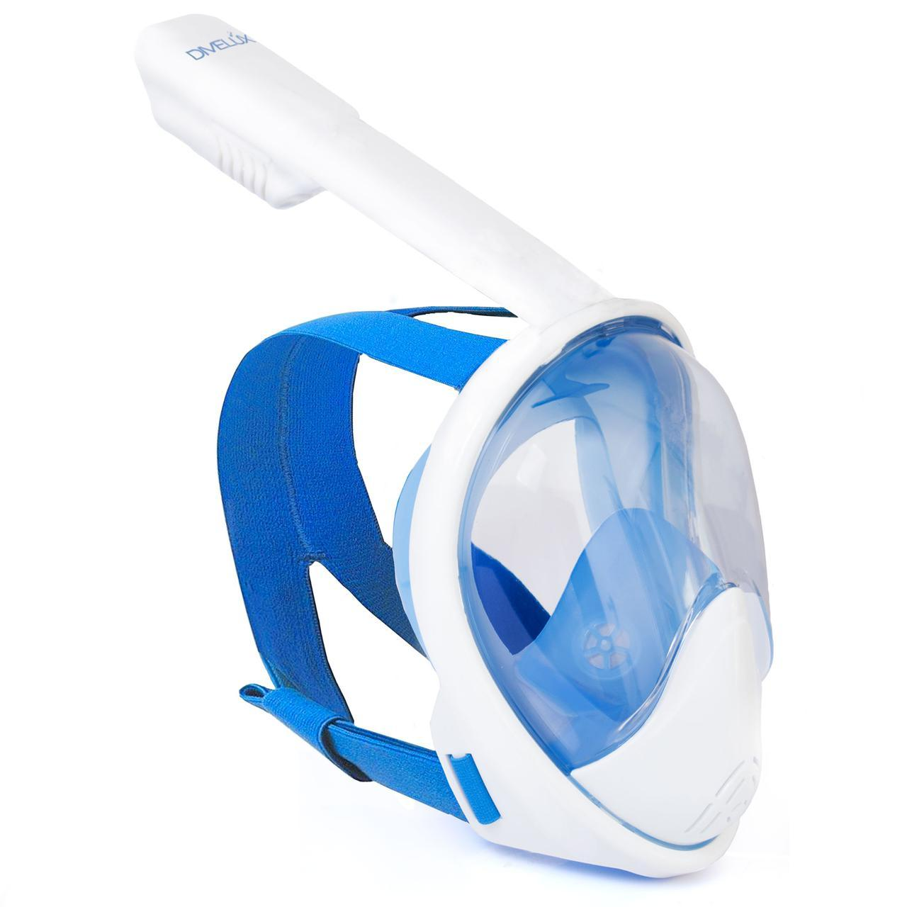 Полнолицевая панорамная маска DIVELUX для дайвинга и снорклинга L/XL Синий