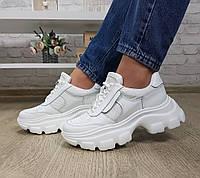 Женские кожаные кроссовки на платформе, белые, код SL-2139