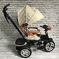 Велосипед трехколесный 5099-1 ткань лен, поворотное сиденье,музыка,надувные колеса