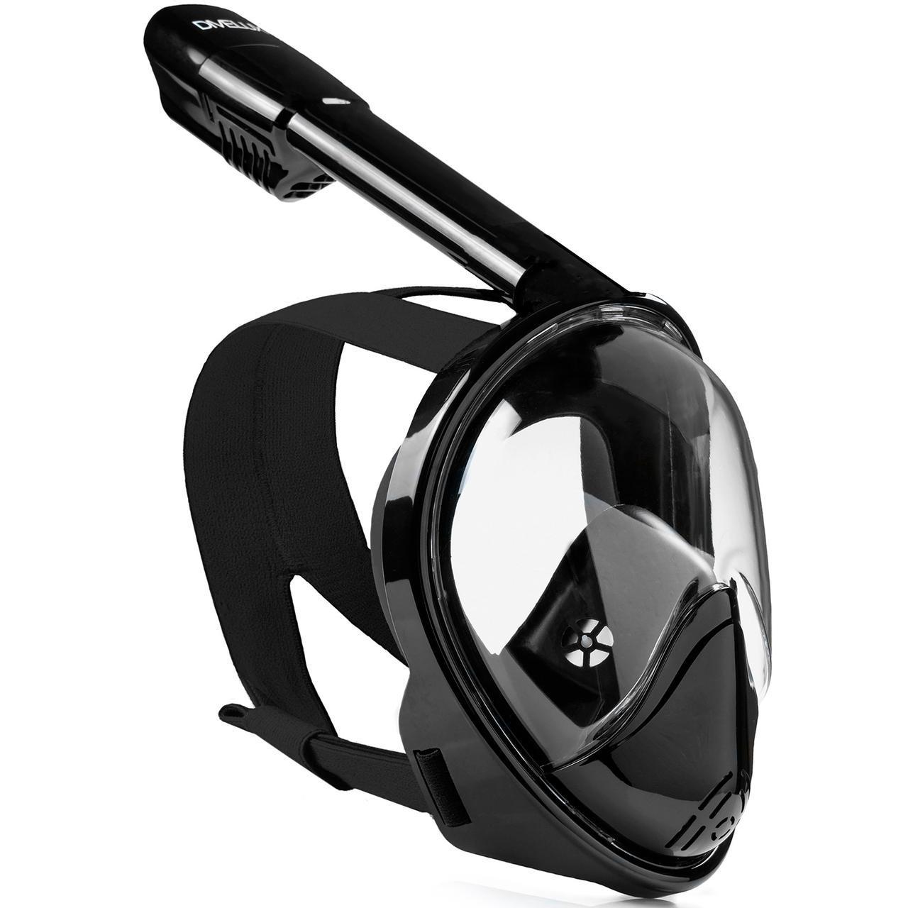 Полнолицевая панорамная маска DIVELUX для дайвинга и снорклинга S/M Черный
