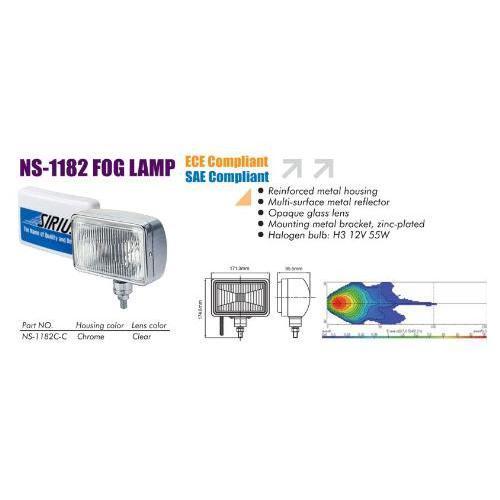 Фары дополнительные NS-1182 C-C H3/12V/55W/172*120mm/металл (NS-1182 C-C)
