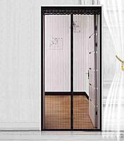 Москитна сітка з магнітами Magic Mesh на двері 100x210 см Чорний (3850)