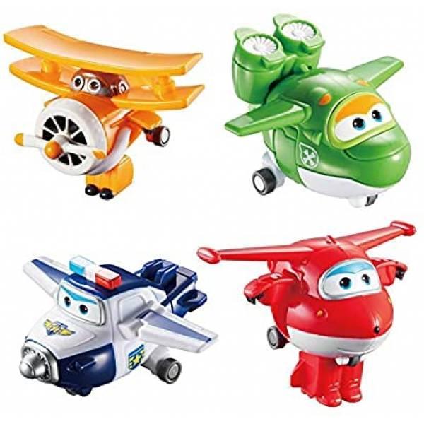 Super Wings Супер крылья самолеты трансформеры 4 шт Transform-a-Bots Planes Jett Mira Paul Grand Albert