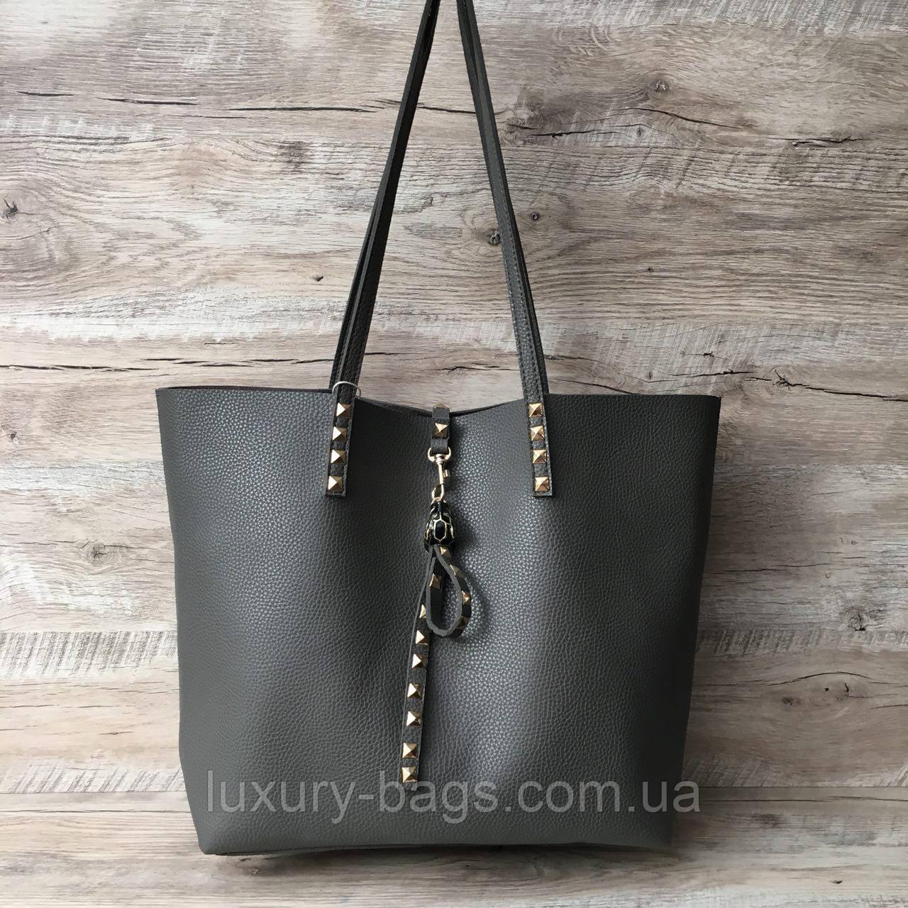 Стильная большая женская серая сумка