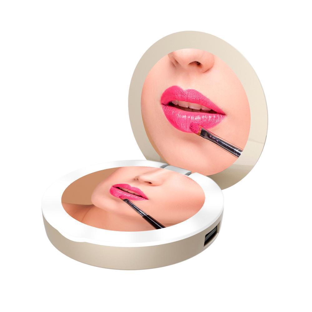 Кишенькове дзеркало для макіяжу з LED підсвічуванням SUNROZ DC113 Pocket Mirror Power Bank Золотистий (6401)