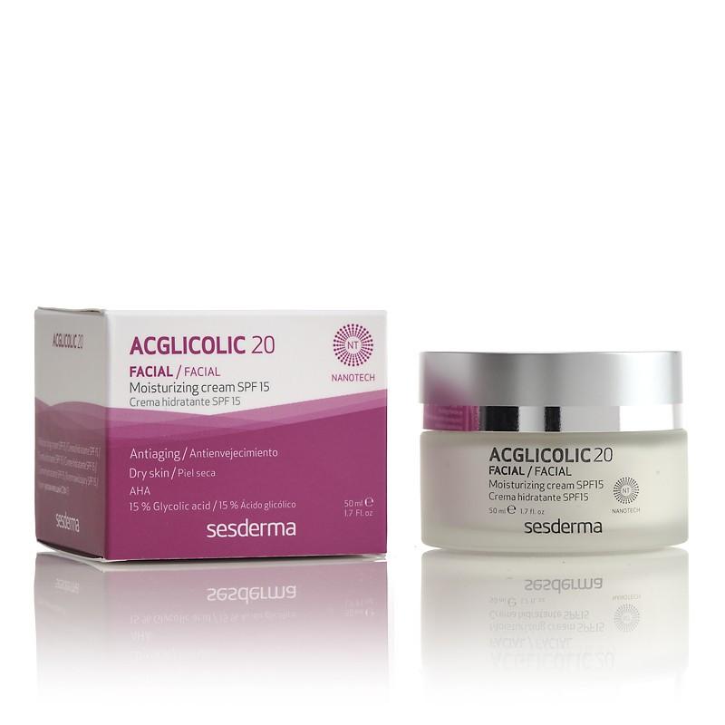 Увлажняющий крем для лица SeSDerma Acglicolic 20 Moisturizing Cream SPF 15