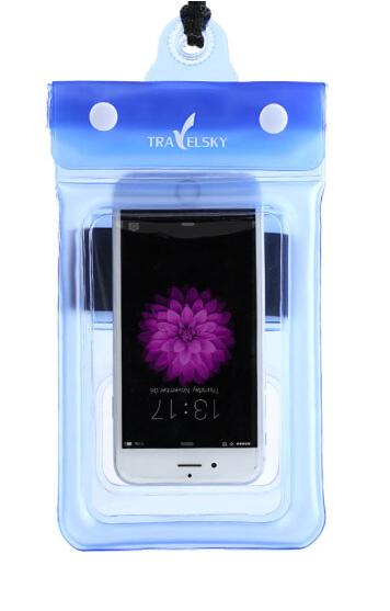 Чохол водонепроникний для мобільних телефонів TRAVELSKY з ремінцем 22*11см Блакитний