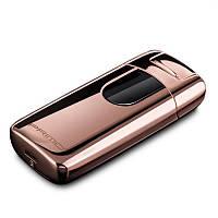 Электроимпульсная зажигалка PRIMO портативная электронная аккумуляторная USB зажигалка Золотистый
