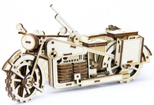 Механический деревянный 3D пазл SUNROZ Мотоцикл BMW R75 125 эл.