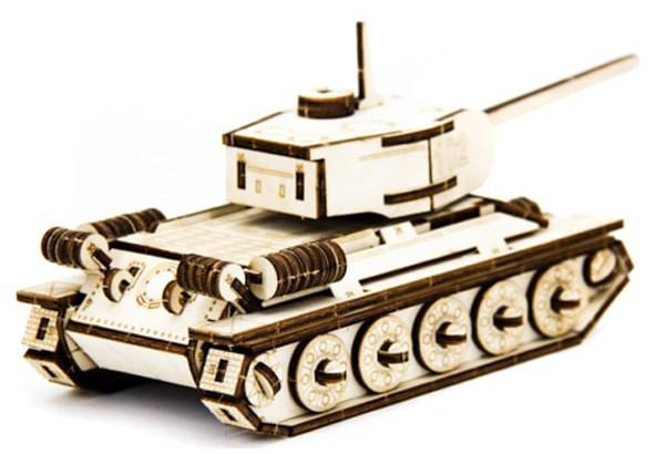 Механический деревянный 3D пазл SUNROZ Танк T-34 127 эл.