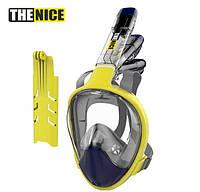 Маска для сноркелінгу TheNice F2 EasyBreath-IIIдля дайвінгу з кріпленням для камери L/XLБіло-Зелений, фото 1