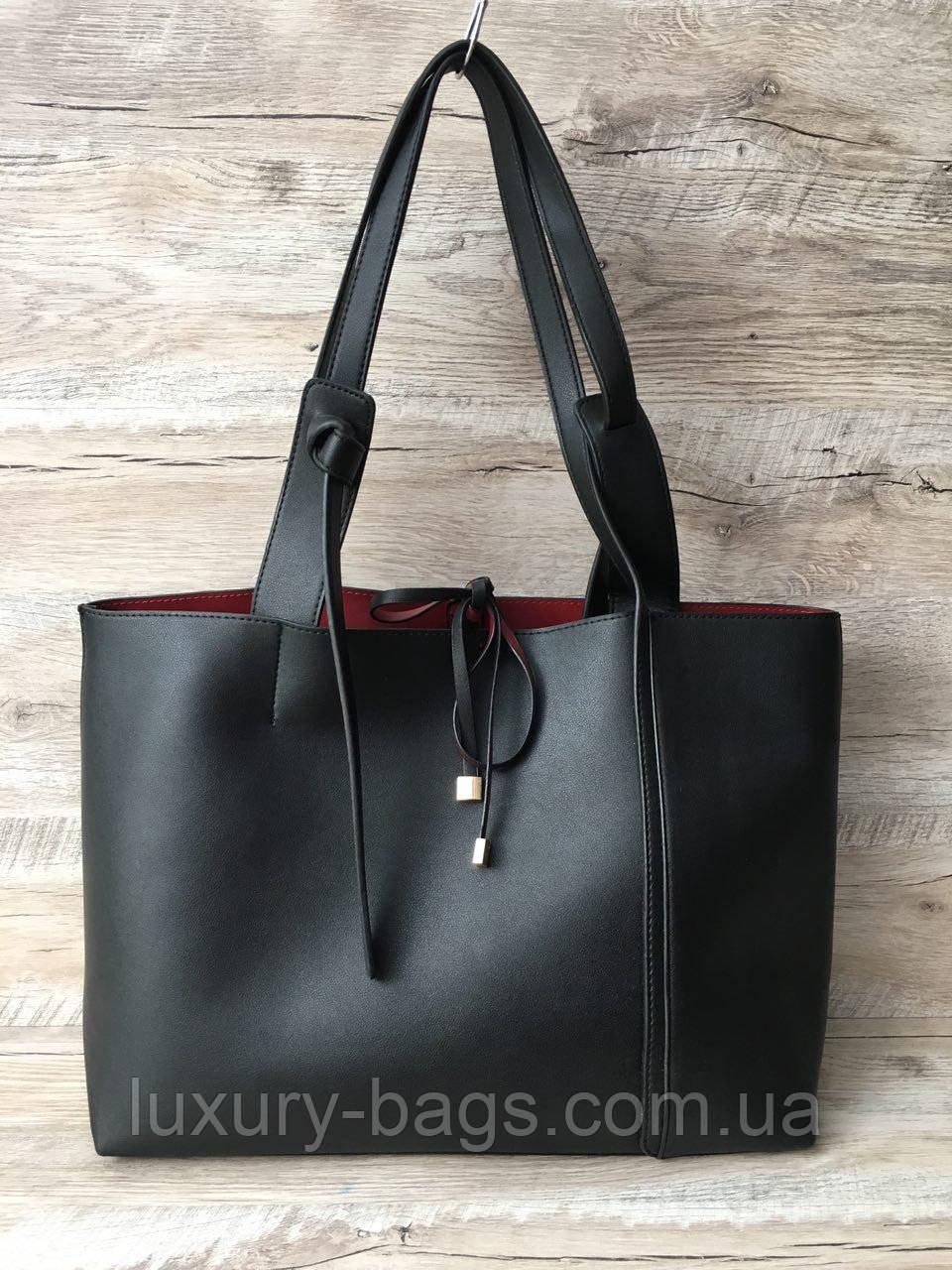 Модна жіноча сумка з червоним подкладом