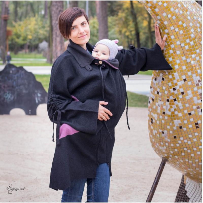 Шерстяное пальто для беременных и слингоношения MАM (размер S-M, чёрный)