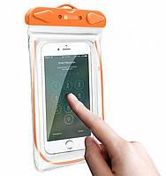 Чохол водонепроникний SUNROZ для мобільних телефонів з люмінесцентним елементом Помаранчевий