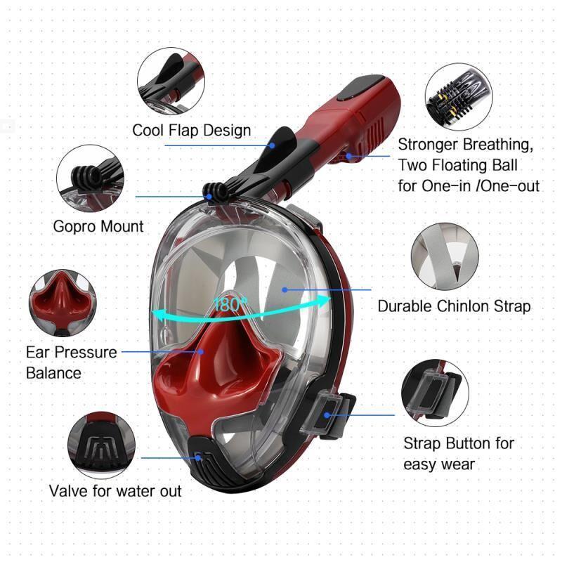 Маска для сноркелінгу TheNice EasyBreath-III M2101 на все обличчя для дайвінгу S/M Червоно-чорний