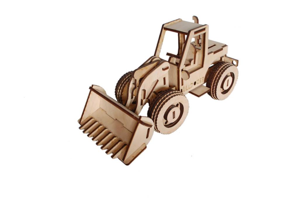 Механический деревянный 3D пазл РЕЗАНОК Бульдозер 87 элементов