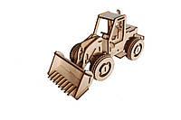 Механический деревянный 3D пазл РЕЗАНОК Бульдозер 87 элементов, фото 1