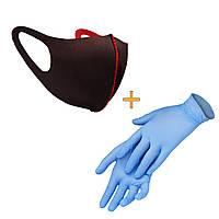 Маска-питта XoKo с фиксакцией Черная размер XS+Перчатки в подарок