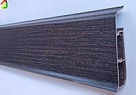 Плинтус Идеал Система 303 Венге Тёмный 80 мм пластиковый для пола, IDEAL высокий с мягкими краями