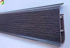 Плінтус Ідеал Система 303 Венге Темний 80 мм пластиковий для підлоги, IDEAL високий з м'якими краями